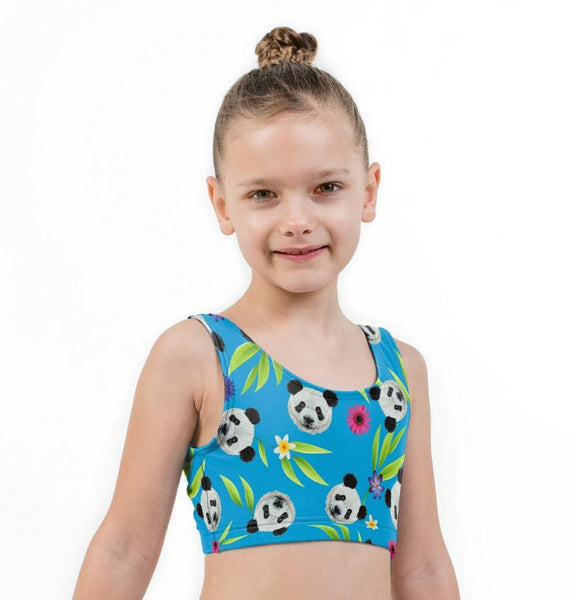Panda Print Lycra Girls Crop Top