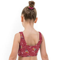 Bobby Robin Red Christmas Print Lycra Girls Crop Top