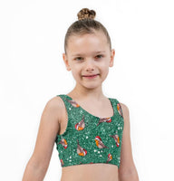Bobby Robin Green Christmas Print Lycra Girls Crop Top
