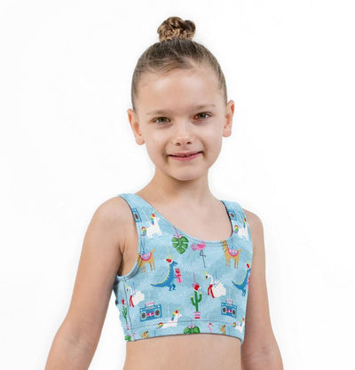 Crazy Christmas Print Lycra Girls Crop Top