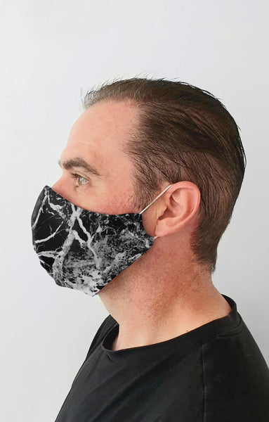 Onyx Black Recycled Fabric Cotton Face Mask - Washable & Reusable