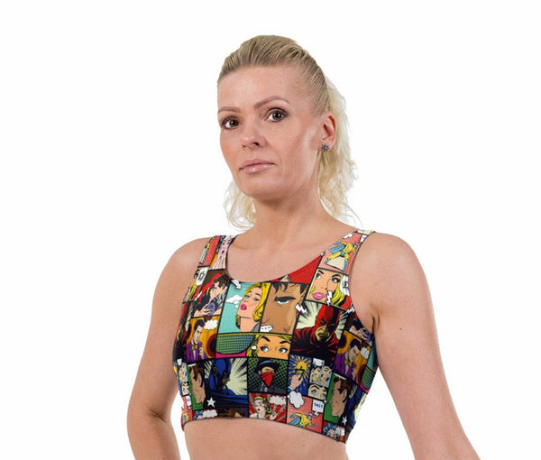 Pop Art Comic Print Lycra Crop Top