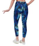 Water Palm Print Lycra Leggings