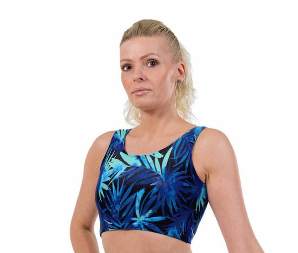 Water Palm Print Lycra Crop Top