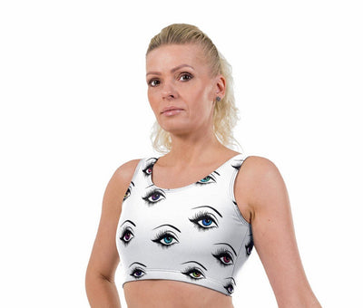 Eye Liner Print Lycra Crop Top