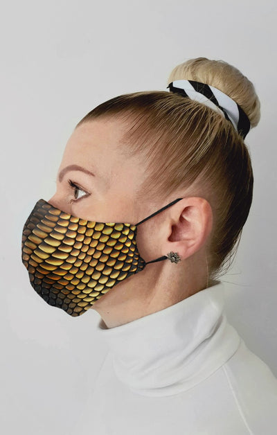 Viper Gold Recycled Fabric Cotton Face Mask - Washable & Reusable