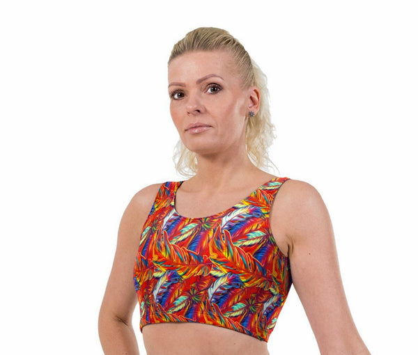 Feathers Print Lycra Crop Top
