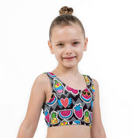 Fruit Fun Print Lycra Girls Crop Top