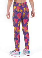 Waffle Hearts Valentines Print Lycra Girls Leggings