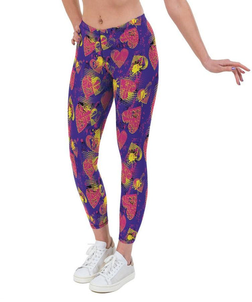 Waffle Hearts Valentines Print Lycra Leggings