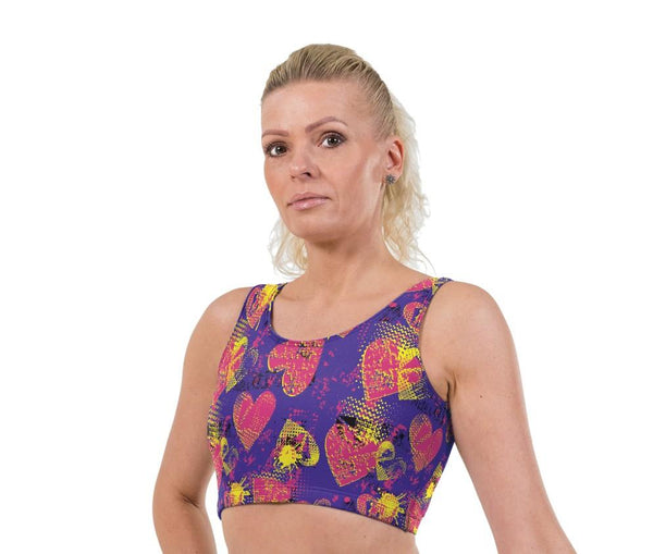 Waffle Hearts Valentines Print Lycra Crop Top