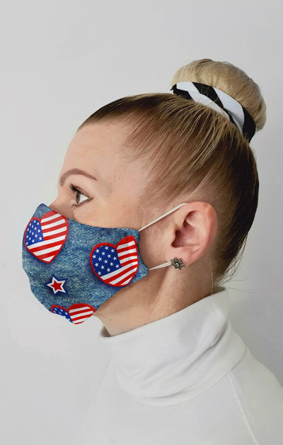 US Denim Hearts Recycled Fabric Cotton Face Mask - Washable & Reusable