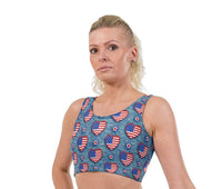 US Denim Hearts Valentines Print Lycra Crop Top