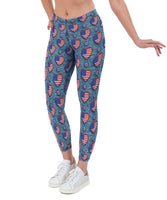 US Denim Hearts Valentines Print Lycra Leggings