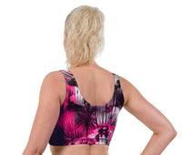 Tropical Haze Print Lycra Crop Top