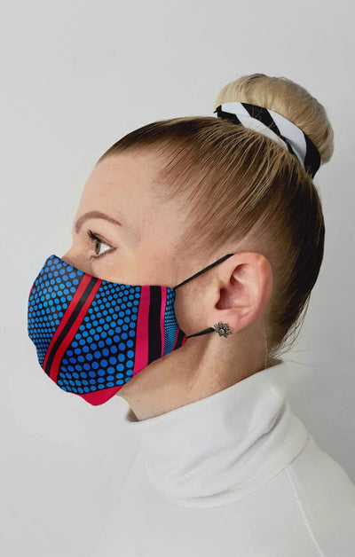 Tri Dot Geo Recycled Fabric Cotton Face Mask - Washable & Reusable
