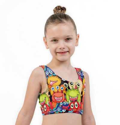 Little Monsters Print Lycra Girls Crop Top