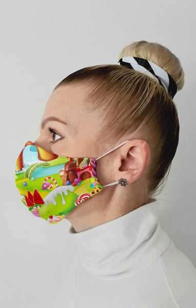 Candyland Recycled Fabric Cotton Face Mask - Washable & Reusable
