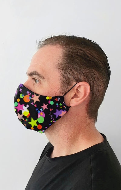 Multi Star Recycled Fabric Cotton Face Mask - Washable & Reusable