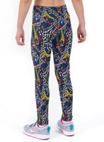 Skull Racer Print Lycra Girls Leggings