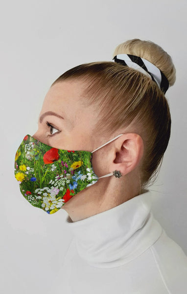 Poppy Meadow Recycled Fabric Cotton Face Mask - Washable & Reusable
