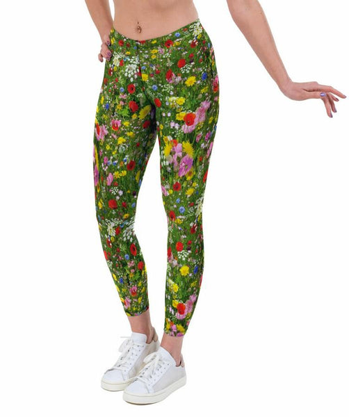 Poppy Meadow Print Lycra Leggings