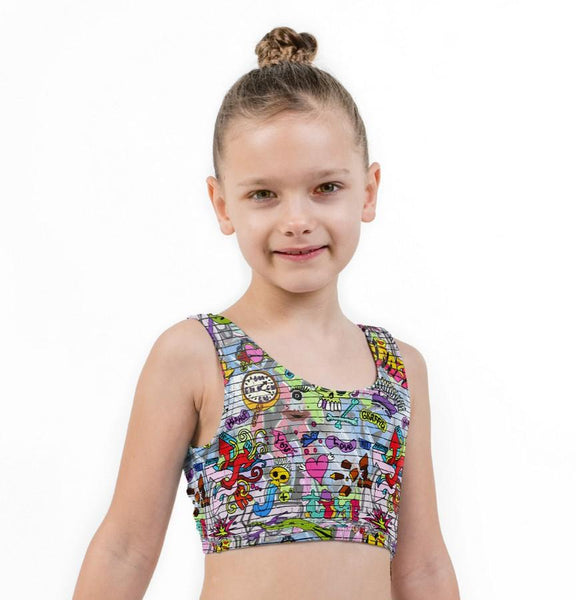 Skull Time Print Lycra Girls Crop Top