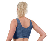 Denim Print Lycra Crop Top
