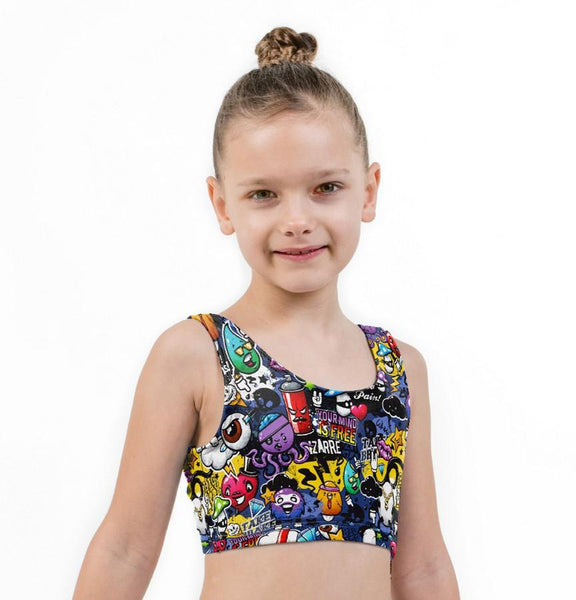 Wow Brains Print Lycra Girls Crop Top