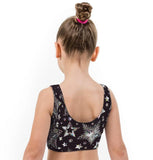 Disco Star Christmas Print Lycra Girls Crop Top