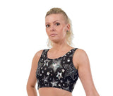 Disco Star Christmas Print Lycra Crop Top