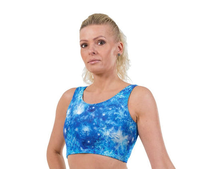 Frozen Blue Christmas Print Lycra Crop Top