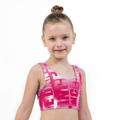 Dance Pink Print Lycra Girls Crop Top