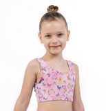 Pastel Butterfly Print Lycra Girls Crop Top