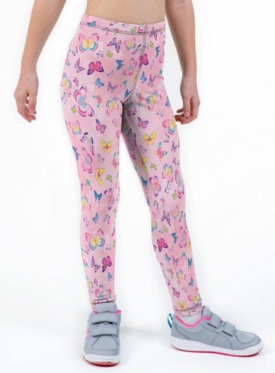 Pastel Butterfly Print Lycra Girls Leggings