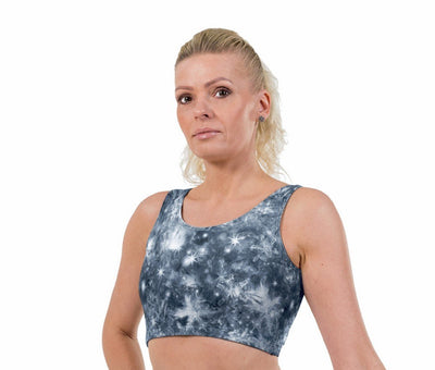 Chillout Silver Print Lycra Crop Top