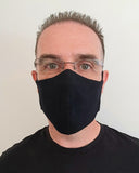 Black Antimicrobial Face Mask with Filter Pocket - Washable & Reusable