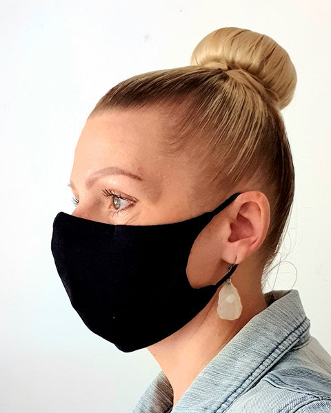 Black Cotton Antimicrobial Face Mask with Filter Pocket - Washable & Reusable
