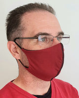 Burgundy Antimicrobial Face Mask with Filter Pocket - Washable & Reusable