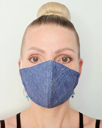 Denim Print Cloth Face Mask - Washable & Reusable