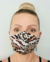 Textured Leopard Print Cloth Face Mask - Washable & Reusable