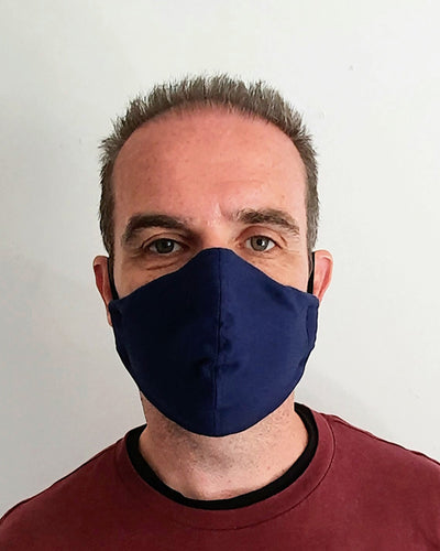 Navy Blue Cotton Cloth Face Mask - Washable & Reusable