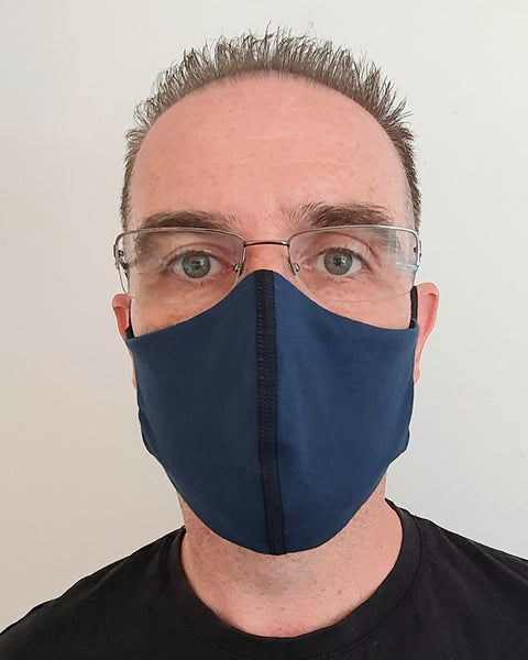 Navy Antimicrobial Face Mask with Filter Pocket - Washable & Reusable