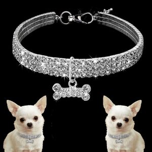 1PCS 3 Rows of Rhinestone Stretch Line Pet Necklaces