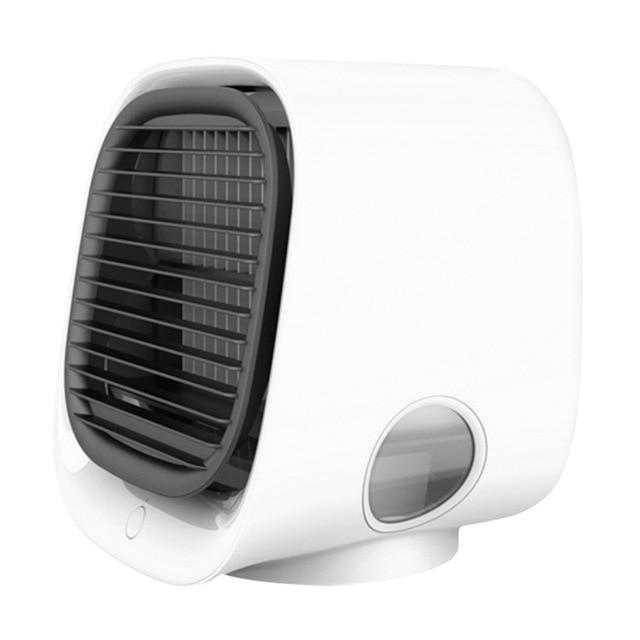Mini Air Cooler Fan, Air Conditioner, with Night Light and Mini USB - For personal use, perfect for getting a cool peaceful sleep on a hot summer night WizWack White