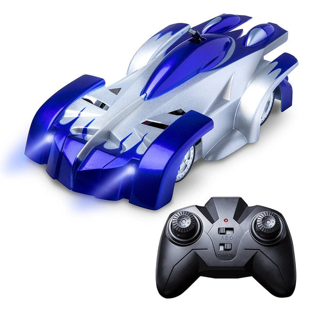 Remote Control Wall Climbing Racing Car with LED Lights 360 Degree Rotating Stunt Toys Antigravity Machine Wall car for Children Gifts for Boys Birthday Present - WizWack