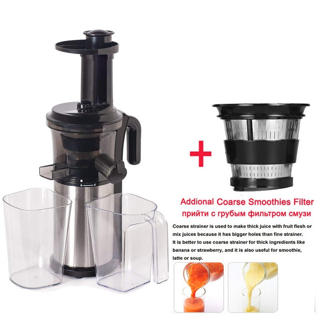 200W 40RPM Stainless Steel Masticating Slow Auger Juicer, Fruit and Vegetable Juice Extractor - WizWack
