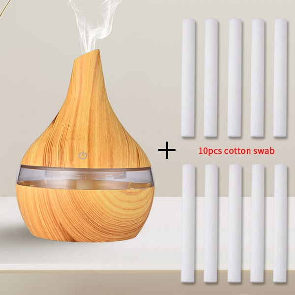 SaengQ Electronic Air Aroma Humidifier Wood Ultrasonic