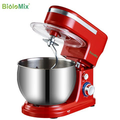 BioloMix 1200W  5L Stainless Steel Bowl 6-speed Kitchen Food Stand Mixer Cream Egg Whisk Whip Dough Kneading Mixer Blender