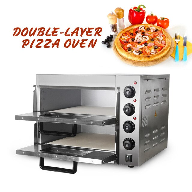 ITOP Commercial Double Layer Baking Oven With Pizza Oven Stone Electric Stainless Steel Roasted Cake Chicken Bread Oven - WizWack